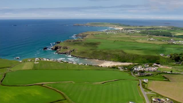 cornwall aerials; england: cornwall: ext air view shots of newquay airport by coast with 'welcome to cornwall' sign / aerials of bay, beach, sea /... - bay of water stock videos & royalty-free footage