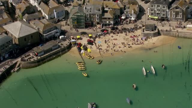 cornwall aerials; england: cornwall: ext air view shots of tregenna castle resort / aerials of marquee / aerials of st ives - town, bays, beaches. - bay of water stock videos & royalty-free footage