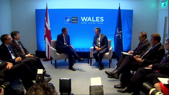 david cameron and anders fogh rasmussen at meeting wales newport celtic manor resort int **beware david cameron mp anders fogh rasmussen and officias... - summit meeting stock videos and b-roll footage