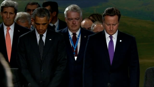 David Cameron speaks about Islamic State threat INT 'Last post' played at ceremony remembering soliders killed in Afghanistan SOT Obama and Cameron...