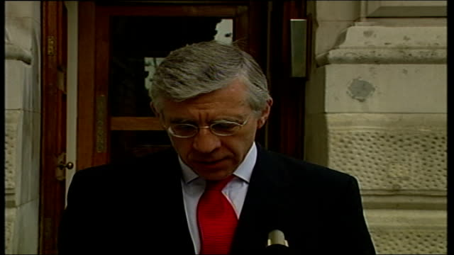 disagreement over nato role in iraq itn england london jack straw mp speaking to press sot talks of new un resolution - g8 summit stock videos & royalty-free footage