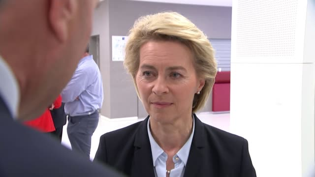 Donald Trump urges members to double defence spending BELGIUM Brussels INT Ursula von der Leyen interview SOT