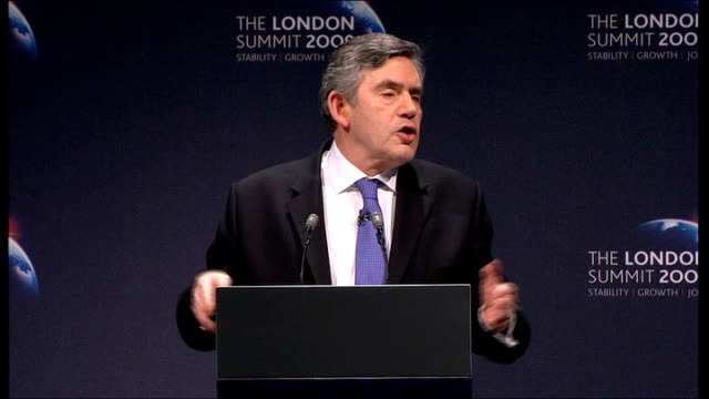 gordon brown press conference; gordon brown speech continued sot - when the wall street crash happened in 1929 it took 15 years for the world to come... - wall street crash of 1929 stock videos & royalty-free footage