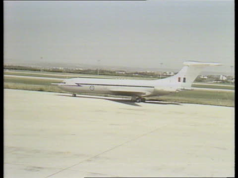 madrid airport ext ms nose of plane with royal ensign as taxis rl ms vc 10 of queen's flight taxis rl margaret thatcher followed by for sec sir... - polka dot stock videos and b-roll footage