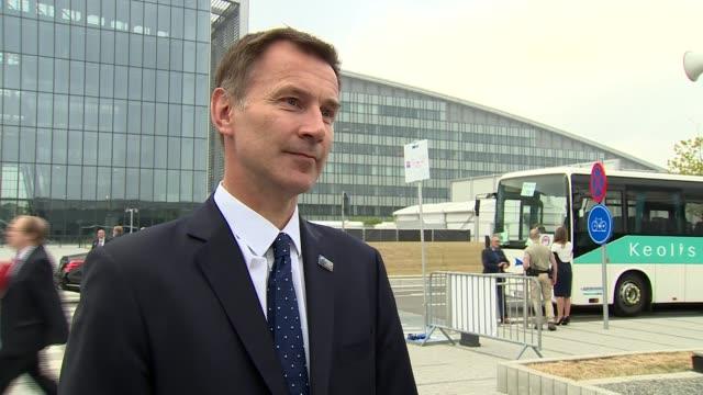 Jeremy Hunt interview BELGIUM Brussels EXT Jeremy Hunt MP interview SOT