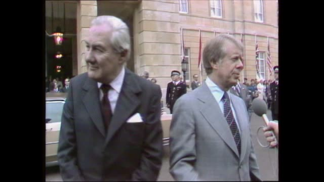 jimmy carter and james callaghan interviewed at lancaster house; england: london: lancaster house: jimmy carter and james callaghan mp live interview... - jimmy carter us president stock videos & royalty-free footage