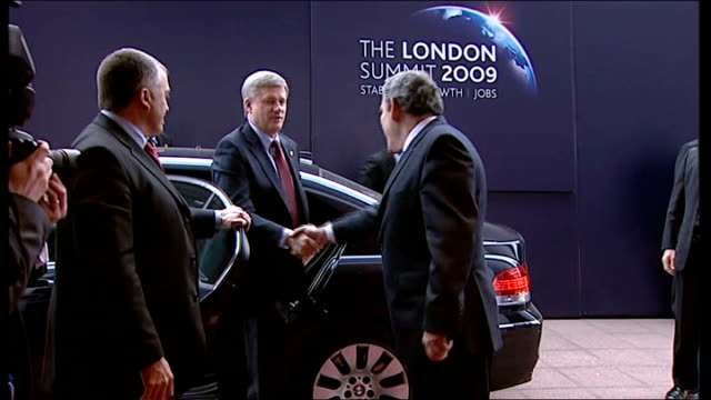 leaders greeted ext brown greeting canadian prime minister stephen harper brown and harper along and posing for photocall - g20 leaders' summit stock videos & royalty-free footage
