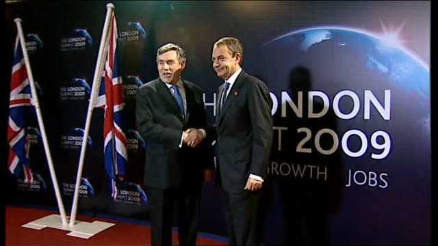 leaders greeted ext motorcade arriving / brown greeting spanish prime minister jose luis rodriguez zapatero brown and zapatero along and posing for... - g20 leaders' summit stock videos & royalty-free footage