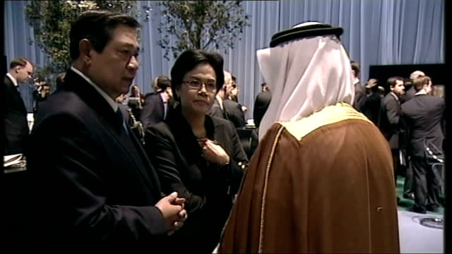 leaders reach deal on economy; waiters and waitresses holding trays of drinks in 'break-out room' for delegates various shots of groups of delegates... - chemistry点の映像素材/bロール