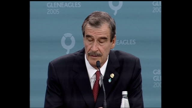 summit / london 7th july 2005 attacks: vicente fox press conference; scotland: gleneagles: int vicente fox press conference sot part 2 of 2 - perthshire stock videos & royalty-free footage