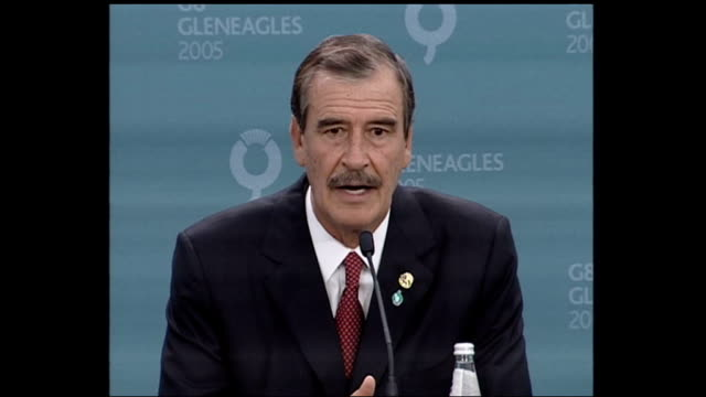 summit / london 7th july 2005 attacks: vicente fox press conference; scotland: gleneagles: int vicente fox press conference sot part 1 of 2. -mexico... - perthshire stock videos & royalty-free footage