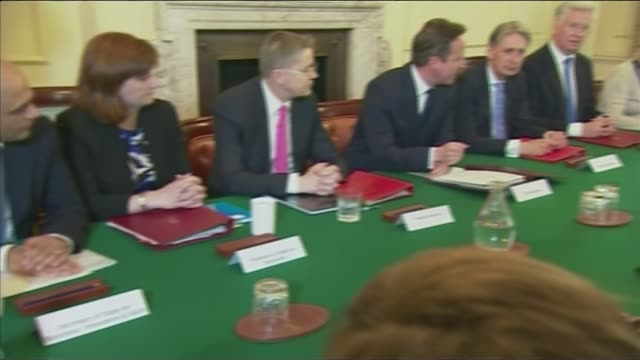 david cameron comments on eu referendum 'misinterpretation' file date unknown int various shots david cameron and cabinet members around table in... - g7サミット点の映像素材/bロール