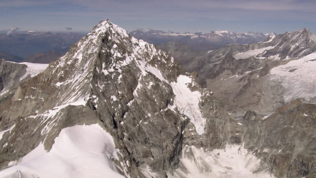 ws aerial summit of dent blanche with weisshorn and bernese alps / dent blanche, valais, switzerland - bernese alps stock videos & royalty-free footage