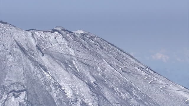 aerial, cu, summit of mt fuji, shizuoka, japan - occurrence stock videos & royalty-free footage