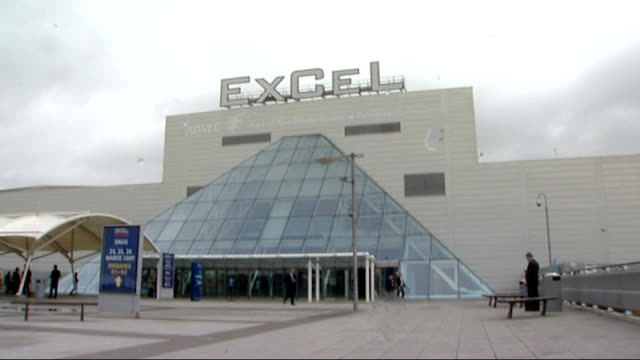 Prospects for global agreement ENGLAND London ExCeL centre which will play host to the G20 summit Flags flying outside ExCeL London