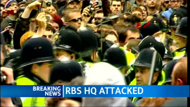 protests england london near royal bank of scotland shots g20 protesters pushing and shoving police officers holding up batons - group of 20 stock videos & royalty-free footage