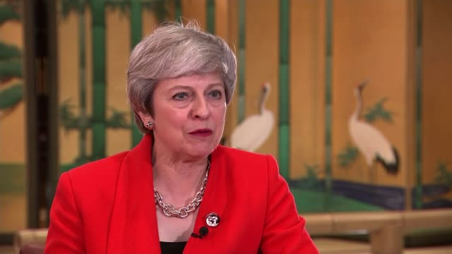theresa may confronts vladimir putin over the poisoning of sergei skripal in salisbury japan osaka int theresa may mp interview sot it can't be... - theresa may stock videos & royalty-free footage