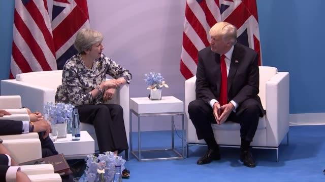 Theresa May meets Donald Trump GERMANY Hamburg INT Theresa May MP and the British delegation meeting with Donald Trump and the US delegation