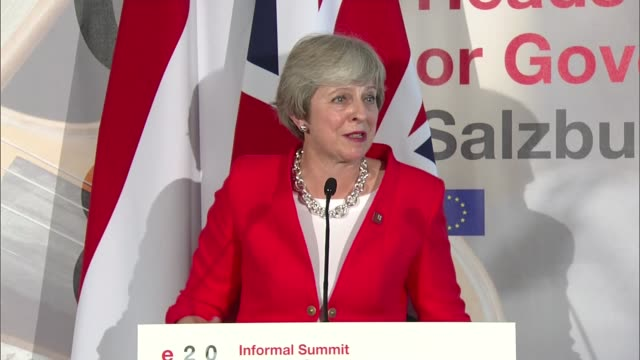 theresa may press conference in salzburg austria salzburg int theresa may mp press conference sot there will be no second referendum on brexit / we... - referendum stock videos and b-roll footage