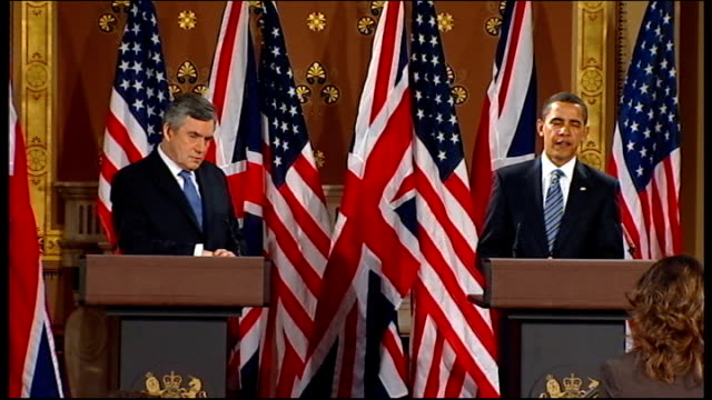 us diplomacy england london president barack obama and gordon brown mp into room for press conference us president barack obama answering journalist... - diplomacy stock videos & royalty-free footage