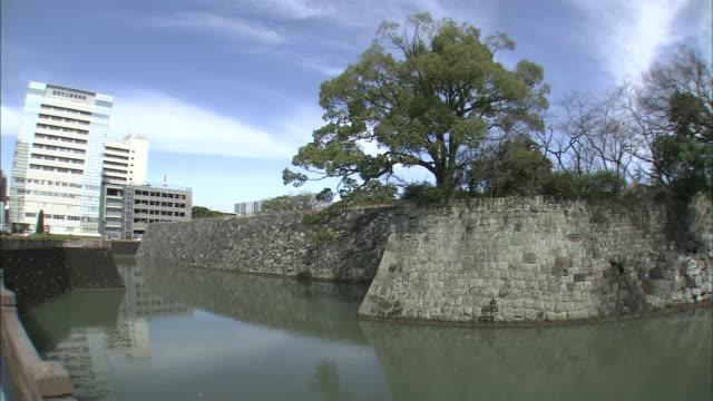 sumpu castle ruins, japan - stone wall stock videos & royalty-free footage