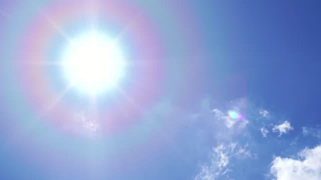 vidéos et rushes de soleil et flare sur le ciel bleu - arc en ciel