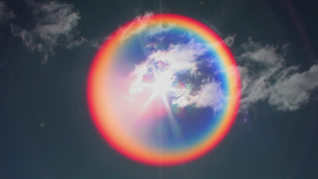 t/l, ws, sun and lens flare with clouds on blue sky, laikipia, kenya - circle stock videos & royalty-free footage
