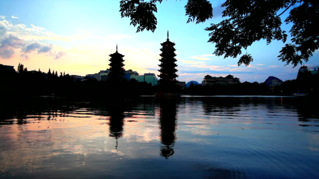 sun and moon pagodas - guilin stock videos & royalty-free footage