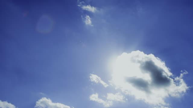 vídeos y material grabado en eventos de stock de sun and passes across blue sky and behind clouds - sólo cielo