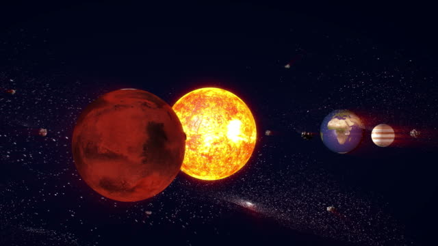 sun and planets of the solar system animation, 3d rendering - orbiting stock videos & royalty-free footage