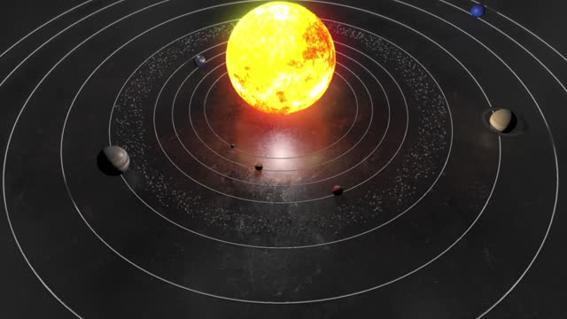 4k sun and planets of the solar system space animation, astronomy, 3d rendering, mercury, venus, earth, mars, jupiter, saturn, uranus, neptune, moon, pluto, asteroids - space and astronomy stock videos & royalty-free footage