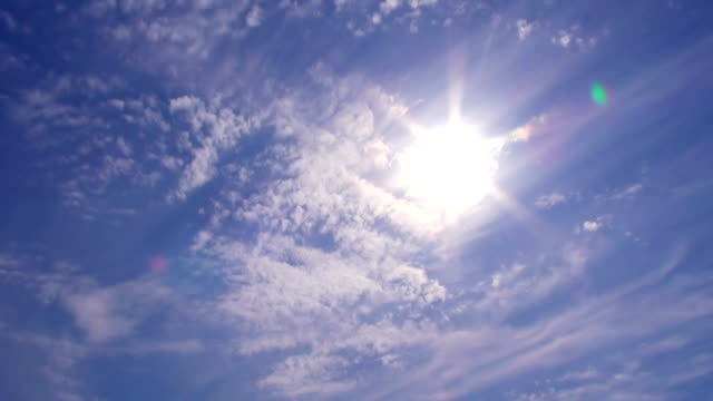 sun and thin wispy cirrus clouds in blue sky - sky only stock videos & royalty-free footage