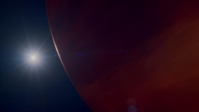 vídeos de stock e filmes b-roll de cgi, sun appearing behind jupiter - júpiter