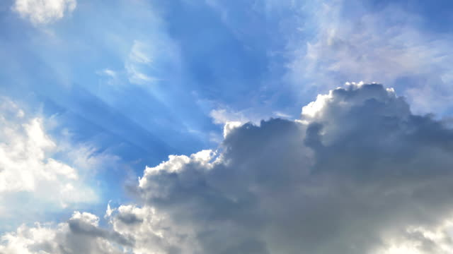 TIMELAPSE: Sun beam among clouds