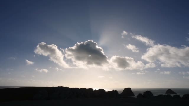 Sun behind the clouds at Pen Hir point, Finistere
