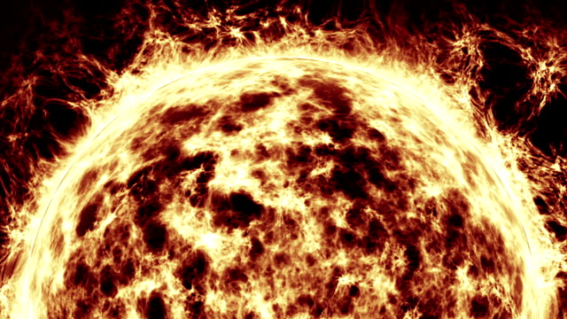 sun burning with solar flares animation - solar flare stock videos & royalty-free footage