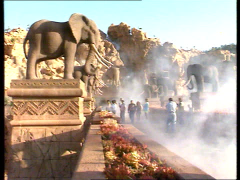 sun city holiday complex lost city south africa bophututhatswana sun city lost city leisure pk airv lost city theme park track rl airv ditto as over... - miss world pageant stock videos & royalty-free footage