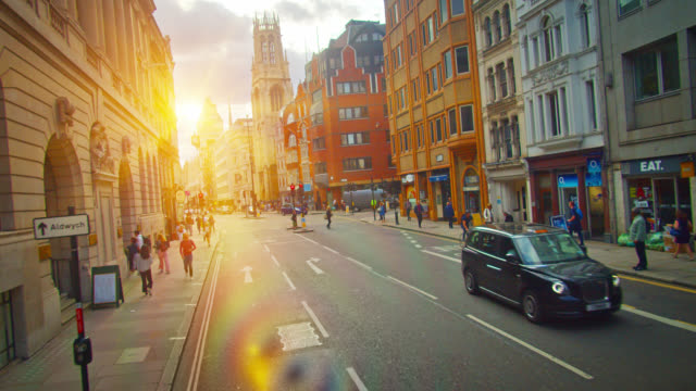 sun flare. creative view of a london city modern street. - northern europe stock videos & royalty-free footage