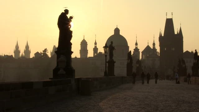 ms sun flare front of charles bridge / prague, hlavni mesto praha, czech republic - charles bridge stock videos & royalty-free footage