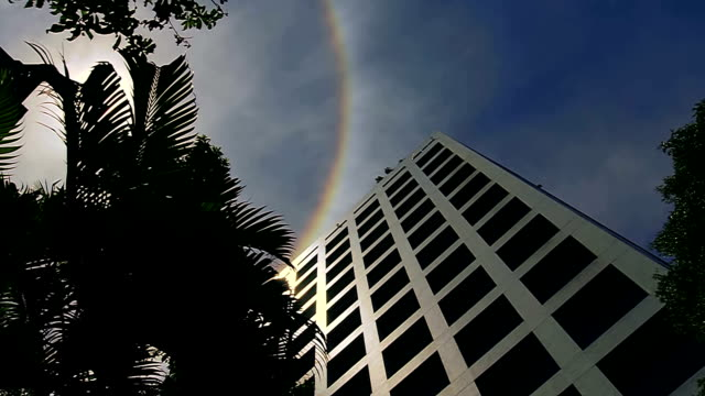 sun halo rainbow high skyscrapers & building - summer solstice stock videos and b-roll footage