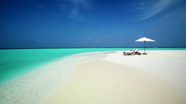 sun loungers on tropical beach, Maldives, Indian Ocean