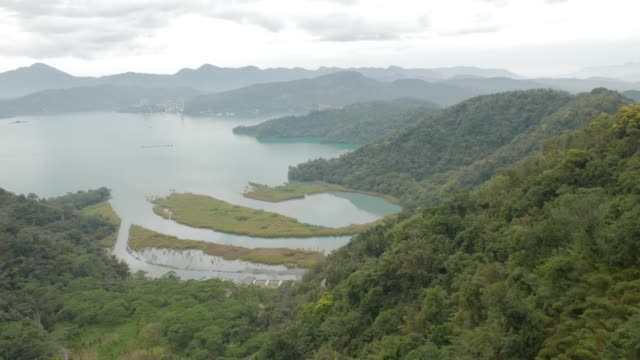 sun moon lake, aerial view, nantou, taiwan - sun moon lake stock videos and b-roll footage
