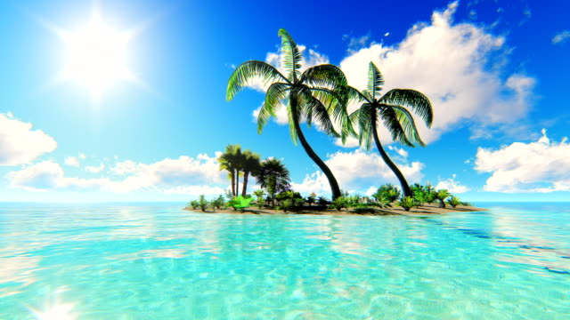 Sun over tropical island