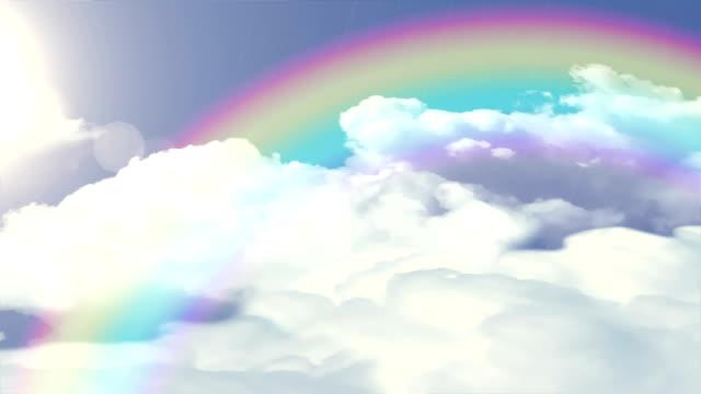 Sol e chuva, nuvens e arco-íris loop.