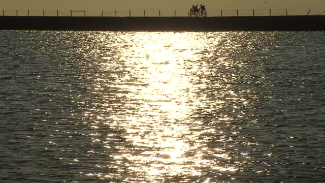 sun reflecting in lake at montrose beach on july 23 2013 in chicago illinois - seeufer stock-videos und b-roll-filmmaterial