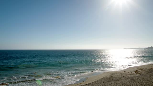 Riflettendo tramonto nel Mare e onde in una giornata di sole sulla spiaggia
