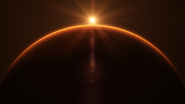 Sun rise above the surface of Mars