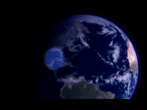 cgi, view from space, zo, sun rising behind planet earth - zoom out stock-videos und b-roll-filmmaterial