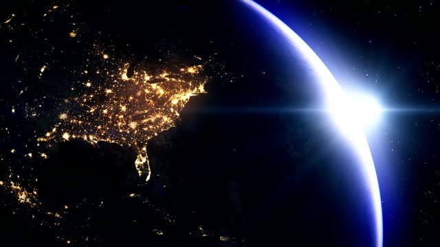 Sun rising over North America nad USA