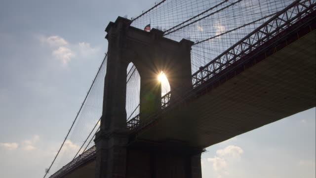 Sun Rising Through the Arch of the Brooklyn Bridge